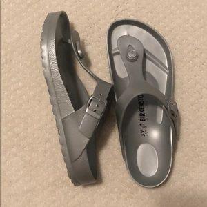 Birkenstock's Gizeh Flip Flop in Silver